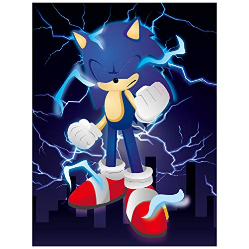 Sonic Poster Stickers Game Themed Pin The Tail Party Supplies Pin The Eyes on The Poster Birthday Collection Party Favor Halloween Party Game Background Accessories ( Includes 2 Blindfolds )