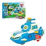 Super Wings - Weltweit Flugzeugträger mit Licht, Sound und mit Jet Super Wings verwandelbar in Roboter und Flugzeug, verwandelbare Spielzeuge, Lernspielzeug, Kinderspielzeug 3 Jahre