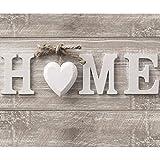 decomonkey Fototapete Home Haus 350x256 cm XXL Design Tapete Fototapeten Vlies Tapeten Vliestapete Wandtapete moderne Wand Schlafzimmer Wohnzimmer Holz Herz Vintage