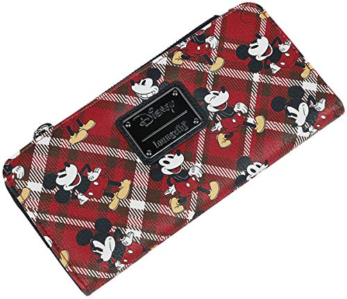 Loungefly Mickey Mouse Red Plaid Bifold Wallet