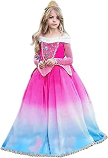 Tsyllyp Girls Princess Sleeping Beauty Costume Halloween Dress Up Gradient Color