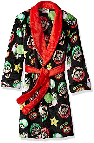 Komar Kids Boys' Big Mario Robe, Black, Medium