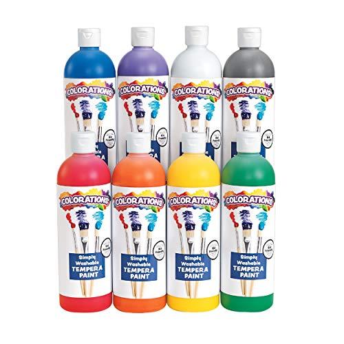 Colorations - SWTRPP Simply Washable Tempera Paint, Rainbow Plus 8 Pack (16 oz....
