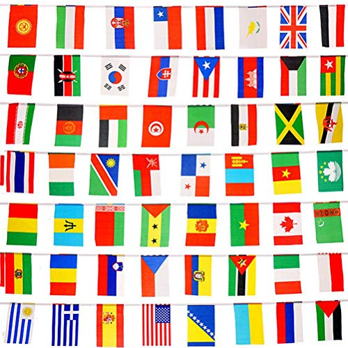 Lsmaa 100 Landen Vlaggen 82ft Internationale vlaggen Bunting Banner voor Partij Decoraties,Olympische Spelen,Grote Opening,Bar,Sport Clubs,School Events,Culturele Studies en Meer