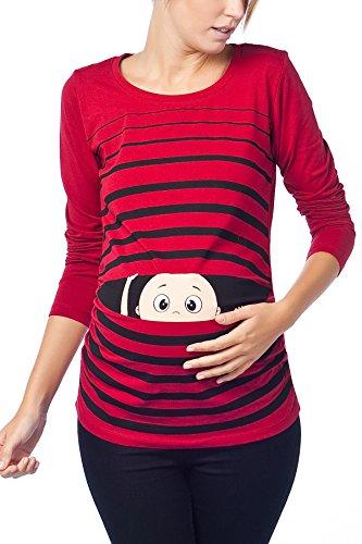 Vêtement de Maternité Humoristique T-Shirt Mignon à Motifs Cadeau pour Grossesse Femme Humour Tee Haut Vetement de Maternite à Manches Longues (Bordeaux, Medium)