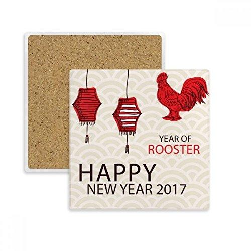 Posavasos cuadrado con piedra absorbente para bebidas, 2 unidades, ideal para el año 2017, de Happy New Year