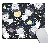 Wasach Gaming Mousepad Custom,Fun cat Astronaut in Space Mouse pad Non-Slip Rubber Comfortable Customized...