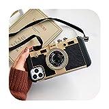 Carcasa para iPhone 11, carcasa de cámara de fotos acrílica para iPhone 11 Pro Max 7 8 XR XS 8 Plus Carcasa antigolpes Laniere Bumper bilet de avión Retro-gold-iphone6plus