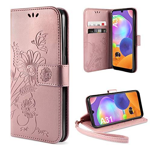 ivencase für Samsung Galaxy A31 Hülle Flip Lederhülle, Samsung Galaxy A31 Handyhülle Book PU Leder Tasche Hülle mit Kartenfach & Magnet Kartenfach Schutzhülle für Samsung Galaxy A31 - Pink Gold