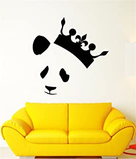 umbreles Vinyl Peel and Stick Mural Removable Wall Sticker Decals Abstract Panda Head Bear Crown King