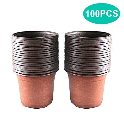 KINGLAKE 100 Pezzi 10 cm Piante in plastica Morbida pentole, piantine vasi Semi vasi, vasi vivaio fioriere contenitori di Piante