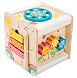 Le Toy Van - Wooden Educational Multi-Sensory Activity Cube with Spinning Wheel | Petilou Range Wood Baby Toy | Suitable for Boy Or Girl 2 Year Old +