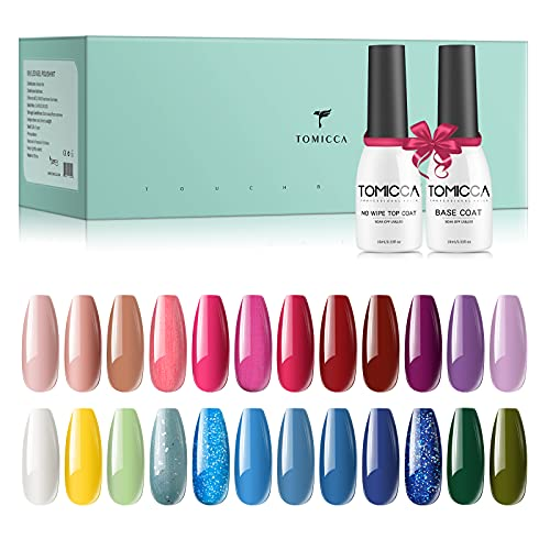 TOMICCA 24 * 8ml Gel nagellak set, 24 kleuren UV nagellak met 2 * 10ml Base Coat en Top Coat, Naakt en Glitter Roze Lila Blauw en Cyaan Nal Gel Polish Set