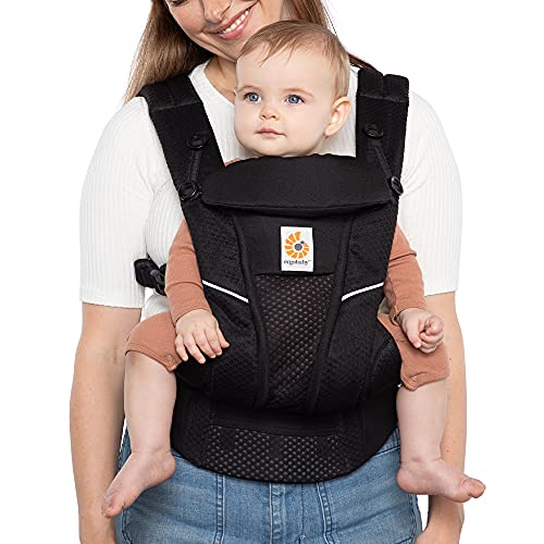Ergobaby Omni Breeze All Carry Positions Breathable Mesh Baby Carrier with Enhanced Lumbar Support & Airflow (7-45 Lb), Onyx Black