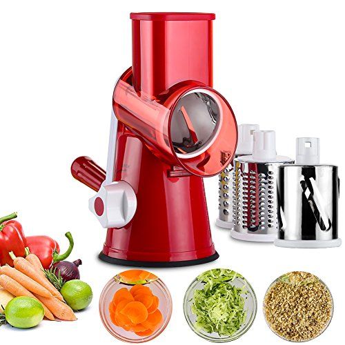 Vegetable Mandoline ChopperUpintek 3Blades Manual Vegetable SlicerEfficient and Fast Vegetable Fruit Cutter Cheese Shredder Speedy Rotary Drum Grater Slicer with StrongHold Suction CupRed