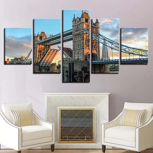 Cuadro En Lienzo,Imagen Impresión,Pintura Decoración Le Tower Bridge de Londres Cuadro Moderno En Lienzo 5 Piezas,Murales Pared Hogar Decor XXL 150x80cm(60x32inch)