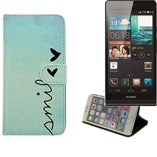 K-S-Trade Schutzhülle Für Huawei Ascend P6 Hülle Wallet Hülle Flip Cover Tasche Bookstyle Etui Handyhülle ''Smile'' Türkis Standfunktion Kameraschutz (1Stk)
