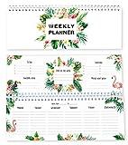 Local & Urban Flamingo Tischkalender im Querformat ohne Datum, in Deutschland produziert: Wochenkalender verwendbar als Kalender 2020/2021, Terminplaner, Familienkalender