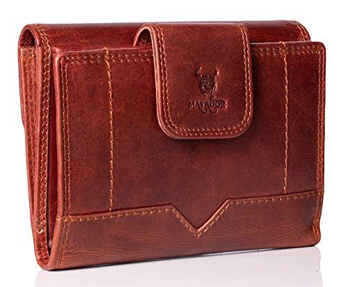 MATADOR Leder Damen Portemonnaie 19 Fächer TüV Geprüfter RFID & NFC Schutz Frauen Geldbörse Kompakt Vintage Braun