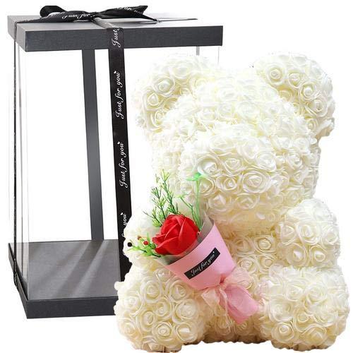 Oso de peluche rosa rosa – Regalos para niñas, mamá, mujeres, novia, día de San Valentín, día de la madre, 40 cm (blanco)