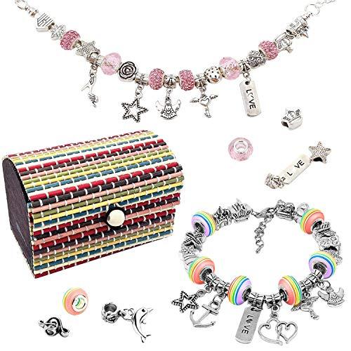 De feuilles Schmuckherstellung Set Kinder Perlen zum Auffädeln Schmucks Tool DIY Perlen Set Armbänder Perlenschmuck Schmuckbasteln, Geburtstagsgeschenk für Mädchen (Bunt)