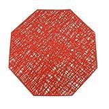 Yqs Posavasos de 4pcs Octagon Plegables de PVC Placemat Almohadillas aislantes del Calor Color sólido Coaster Copa Hueco Ecológico Mantel (Color : Red, Size : 6 PCS)