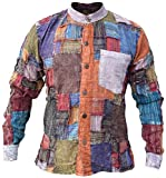 Little Kathmandu - Camisa de algodón, casual, para hombre, diseño de parches, manga larga, sin cuello, para abuelo multicolor A Medium