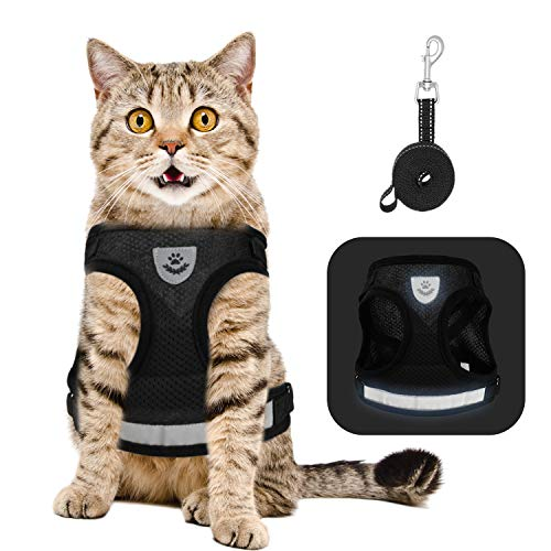Lenlorry Escape Proof Cat Harness with Leash Collar Set Reflective Adjustable Soft Mesh Step-in Walking Vest Harness for Small Medium Large Cat Dog Rabbit Outdoor Walking