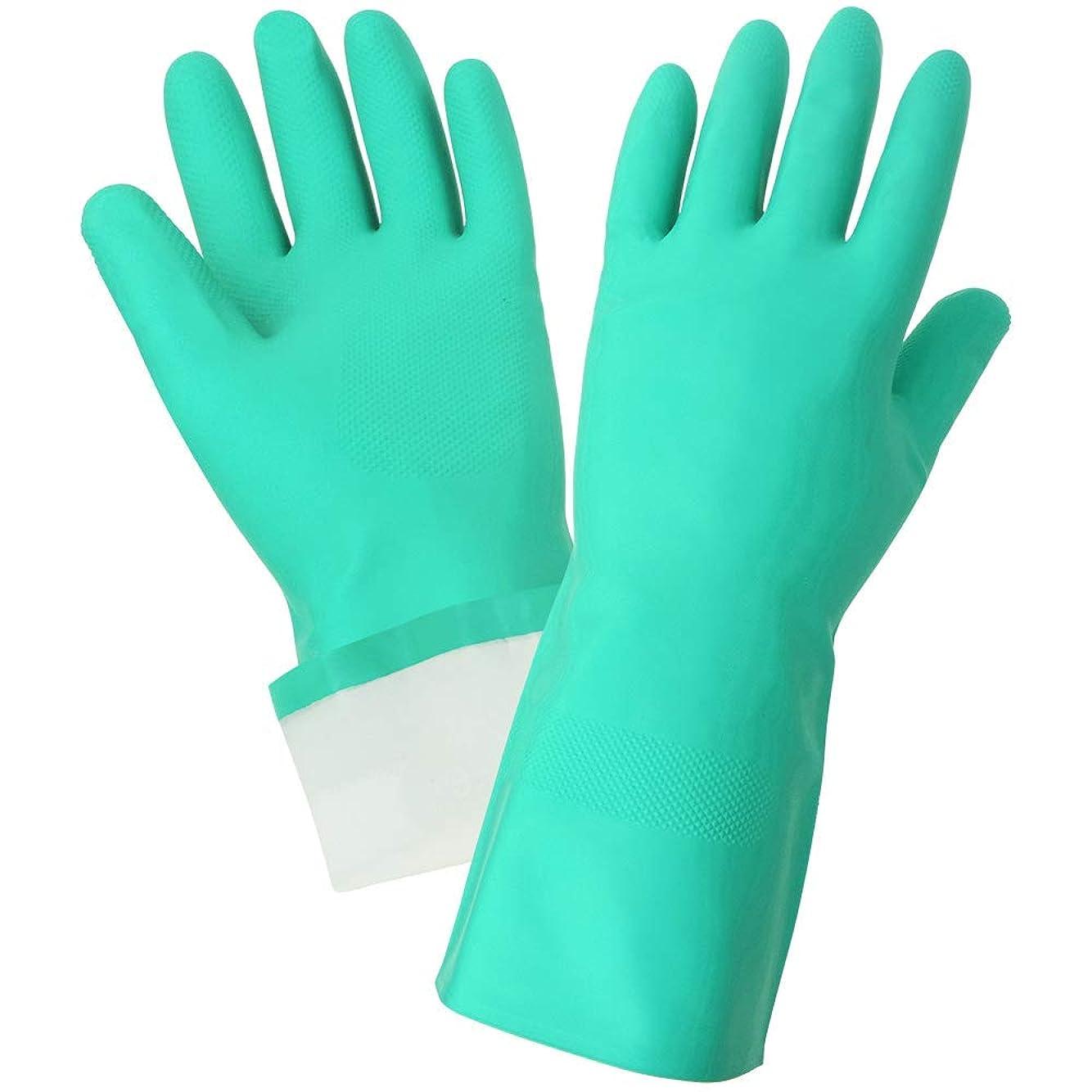高原発表火山Global Glove 515F Flock Lined Nitrile Diamond Pattern Glove, Chemical Resistant, 15 mil Thick, 13 Length, Small, Green (Case of 144) by Global Glove
