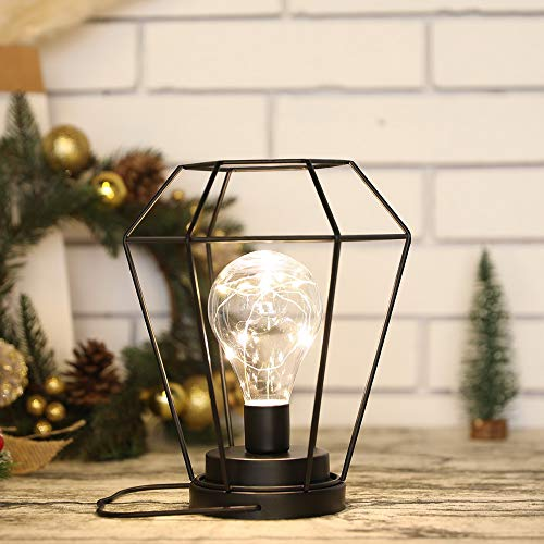 JHY DESIGN 21cm Tall Cage Table Lamp Battery Powered Cordless Wireless Desk Lamp with Edison Bulb for Office Home Balcony Bedroom Weddings Parties Indoor Outdoor Valentine's Day Gift(Black Metal)