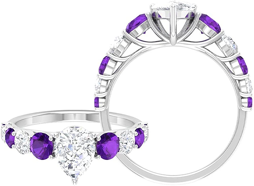 2.50 CT Nippon regular agency Moissanite Solitaire Ring Stones with 6X8 Amethyst Max 52% OFF Side