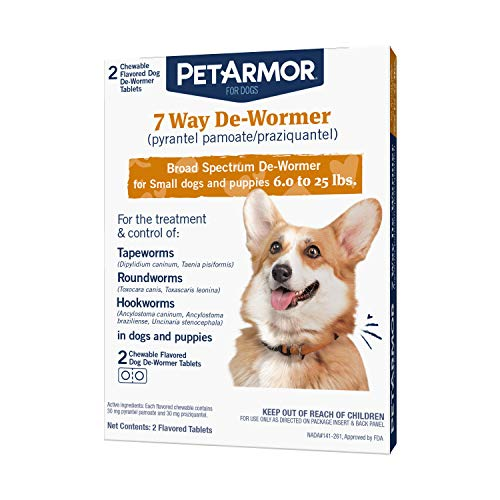 PetArmor 7 Way De-Wormer (Pyrantel Pamoate and Praziquantel) for Dogs, Includes Chewable Flavored Dog De-Wormer Tablets for Small dogs and puppies 6.0 to 25 pounds.