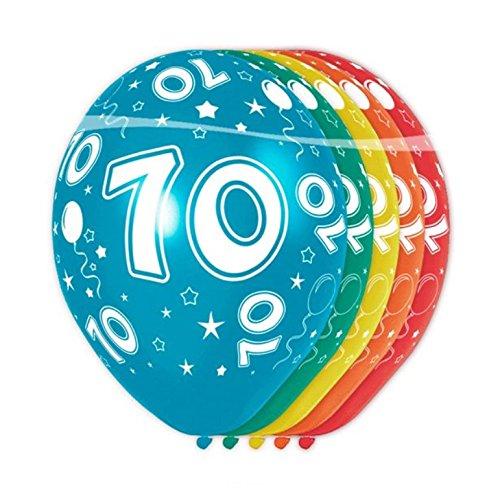 Folat - ballonnen cijfer 70-5 stuks geschikt voor helium allover print