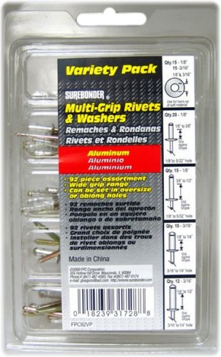 Surebonder FPC92VP Aluminum Multi-Grip Rivets, 92-Piece