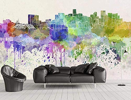 Mural Wallpaper Photo Poster Wall DecorationWatercolour City landscapeBackground Wall Background Painting Panorama 3D Wall Mural Decor 300 * 450cm