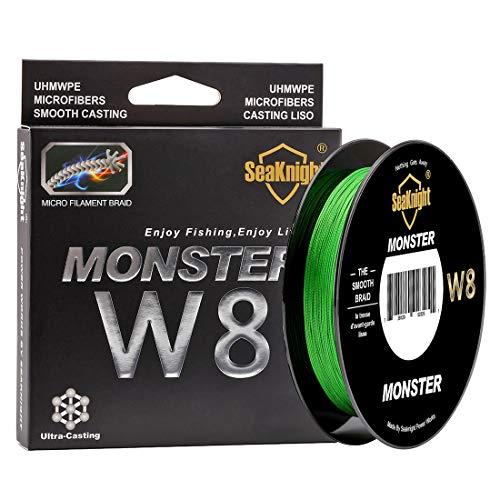 SEAKNIGHT Monster W8geflochtenen Linien 8Strähnen Slalom 150m/164yards Super Smooth PE geflochten Multifil Fischerei Linien für Meeresangeln 15–45kg, Herren, Hi-Vis Green