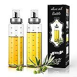 RINYKIT Olive Oil Bottle Dispenser (2 Pack), Glass Oil & Vinegar Dispenser Set 17oz, No-Drip Olive Oil Bottle for Kitchen Cooking and Grilling, Easy Refill and Clean, Oil Bottle with Measurement