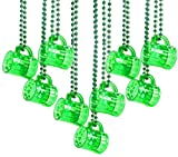 St Patricks Day Beads Necklace With Shot Glasses Beer Mug Pack of 12 – Green Irish Gifts Party Favors Supplies for Kids & Adults Costume Accessories By 4E's Novelty