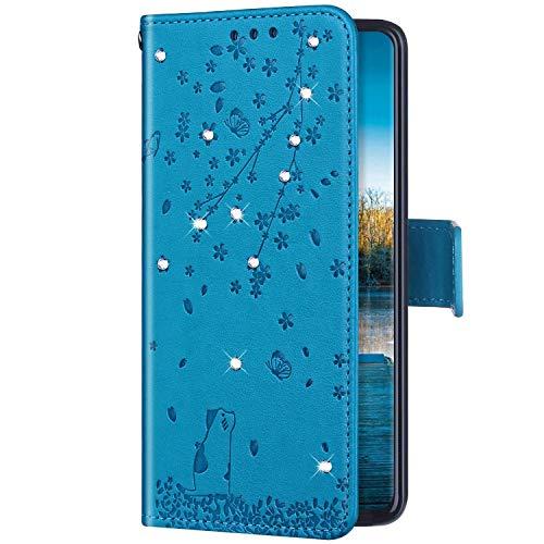 Uposao Kompatibel mit Huawei P20 Lite Hülle Wallet Handyhülle Strass Diamant Glänzend Bling Kirschblüte Blumen Muster Leder Tasche Schutzhülle Brieftasche Klapphülle Flip Case,Blau