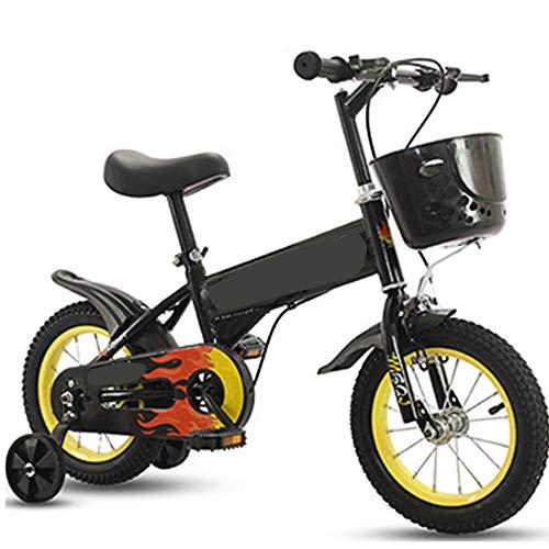 TOOSD Bicicleta para Niños De 12-18 Pulgadas, Niños, Niñas, Bicicletas De Estilo Libre con Canasta Y Ruedas De Entrenamiento, Primer Regalo De Cumpleaños del Niño,C,14