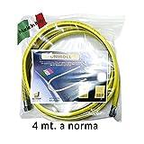 Tubo flessibile GAS CUCINA 4 metri 1/2 MF' GAS inox A NORMA EN 15266 4 mt per cucina piano cottura UNIROLL