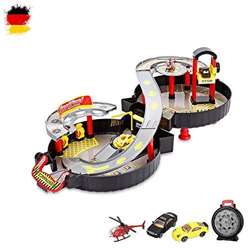 HSP Himoto DIY Parkhaus Garage Spielzeug-Set im wunderschönen Koffer Design, leicht zu transportieren für Ihre Kinder,Autos, Hubschrauber