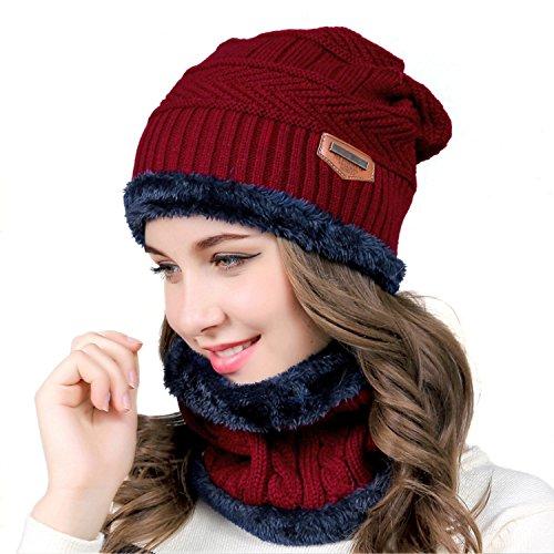 MUCO Gorros hecho punto bufanda de dos piezas hombre mujer invierno cálido al aire libre ...