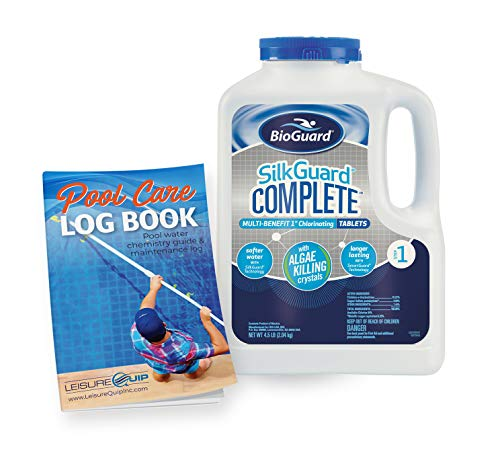 """BioGuard SilkGuard Complete 1"""" Chlorinating Tablets 4.5 lb with Pool Care Log Book (2 Items)"""