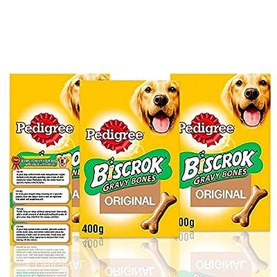 Pedigree Biscrok Gravy Bone Low In Fat Dog Biscuits 400g - Dog Treats + Dog Care Tips Flyer - Pack of 3