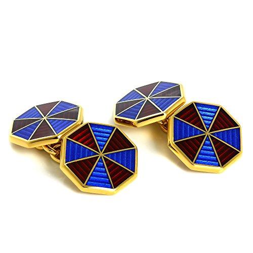 Boutons de Manchette Octogonaux Bleus et Rouges en Or Jaune 9 Carats et Email - A Chaînette