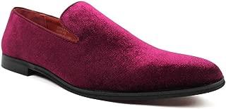 Vincent Cavallo Men's Slip on Velvet Tuxedo Loafers Formal Dress Shoes Red Leather Lining C-351