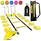 Bltzpro Football & Soccer Training Equipment - 12 Cones & 20 ft Agility Ladder speed Practice kit for Kids and coaches - Conditioning & footwork workout gear -With 2 Bags & Agility Drills eBook-YELLOW