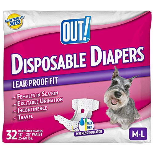 OUT! Disposable Female Dog Diapers | Absorbent Female Dog Diapers with Leak Protection | Female Dogs in Heat, Excitable Urination, or Incontinence | Medium/Large | 32 Count