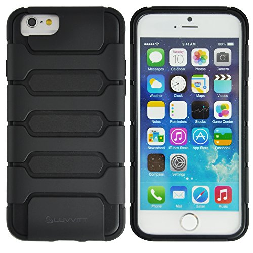 LUVVITT [Armor Shell] iPhone 6 Case / 4.7 inch Screen iPhone Air Armor Case | Double Layer Shock Absorbing Cover - Black/Black